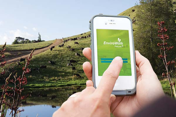 8-technDairyNZ's EnviroWalk app enables farmers to assess fertilizer use, effluent, waterways, races, cropping, water use and irrigation, and create an action plan on their smartphone.ology